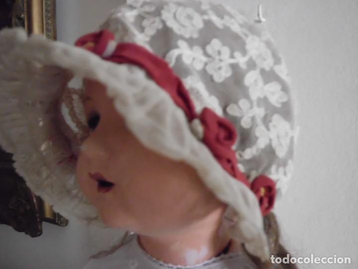 Juguetes antiguos y Juegos de colección: Antigua capota o gorro de tul bordado para muñeca antigua - Foto 7 - 97226827