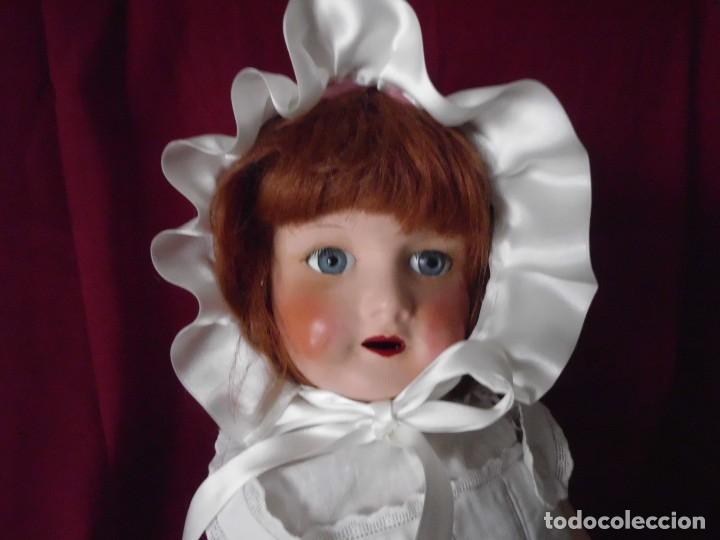 Juguetes antiguos y Juegos de colección: Capota o gorro en tela bordada para muñeca antigua - Foto 6 - 103507111