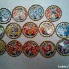 Juguetes antiguos y Juegos de colección: 17 TAZOS POKEMON METÁLICOS (LOS DE LA FOTRO MÁS 134, 136, 137). Lote 115582119