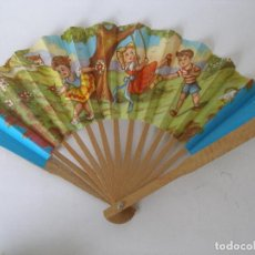 Juguetes antiguos y Juegos de colección: ABANICO PAPEL MADERA KIOSKO AÑOS 60 . Lote 115587191