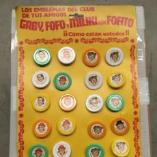 Juguetes antiguos y Juegos de colección: CHAPA METALICA PAYASOS DE LA TELE GABI FOFO MILIKI Y FOFITO AÑOS 70. Lote 194908537