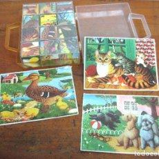 Juguetes antiguos y Juegos de colección: ROMPECABEZAS CUBOS ANIMALES * JUGUETES PIQUE CON ESTUCHE ORIGINAL 12 DADOS C.1970. Lote 118193151
