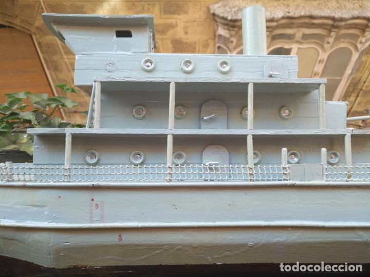 Juguetes antiguos y Juegos de colección: gran maqueta antiguo barco militar buque de guerra con cañones madera hecho a mano - 77x38x15 cm - Foto 3 - 131920602