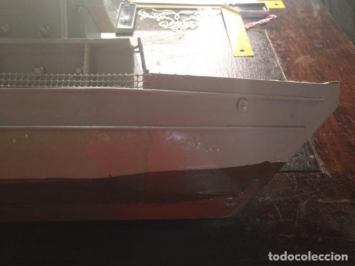 Juguetes antiguos y Juegos de colección: gran maqueta antiguo barco militar buque de guerra con cañones madera hecho a mano - 77x38x15 cm - Foto 4 - 131920602