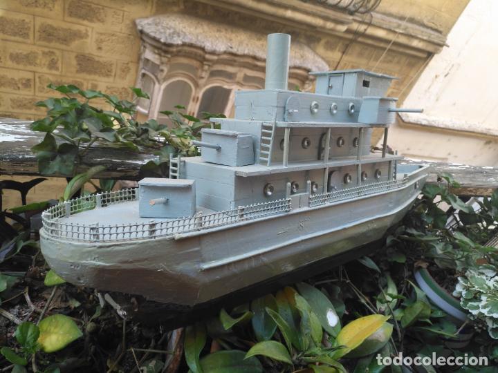 Juguetes antiguos y Juegos de colección: gran maqueta antiguo barco militar buque de guerra con cañones madera hecho a mano - 77x38x15 cm - Foto 5 - 131920602