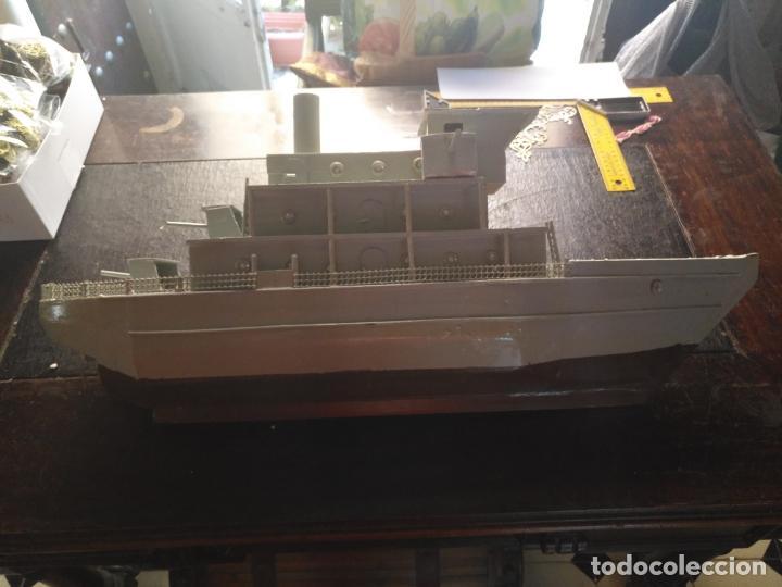 Juguetes antiguos y Juegos de colección: gran maqueta antiguo barco militar buque de guerra con cañones madera hecho a mano - 77x38x15 cm - Foto 7 - 131920602