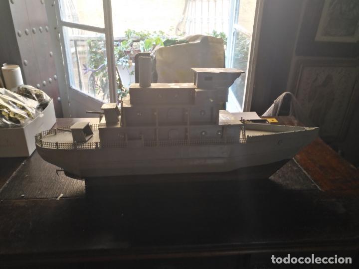 Juguetes antiguos y Juegos de colección: gran maqueta antiguo barco militar buque de guerra con cañones madera hecho a mano - 77x38x15 cm - Foto 12 - 131920602