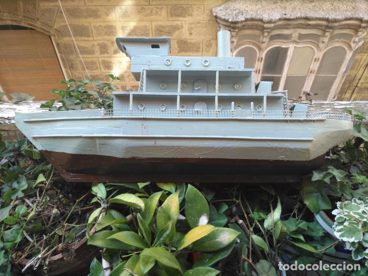 Juguetes antiguos y Juegos de colección: gran maqueta antiguo barco militar buque de guerra con cañones madera hecho a mano - 77x38x15 cm - Foto 13 - 131920602