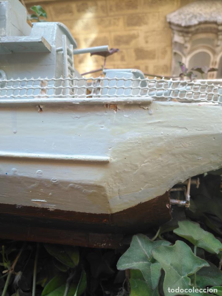 Juguetes antiguos y Juegos de colección: gran maqueta antiguo barco militar buque de guerra con cañones madera hecho a mano - 77x38x15 cm - Foto 14 - 131920602