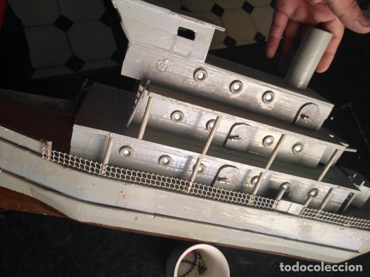 Juguetes antiguos y Juegos de colección: gran maqueta antiguo barco militar buque de guerra con cañones madera hecho a mano - 77x38x15 cm - Foto 16 - 131920602