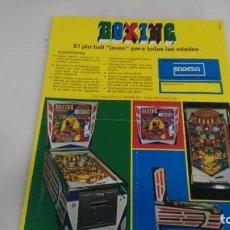 Juguetes antiguos y Juegos de colección: ANTIGUO FLAYER DE MAQUINA RECREATIVA PIMBALL BOXING TAMAÑO FOLIO ORIGINAL AL 100%. Lote 137995374