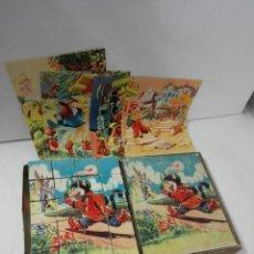 Juguetes antiguos y Juegos de colección: ROMPECABEZAS DE CUBOS DE CARTÓN. GATO CON BOTAS, PINOCHO, CENICIENTA, CAPERUCITA... AÑOS 50. PUZZLE. Lote 140901522