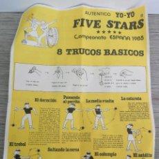 Juguetes antiguos y Juegos de colección: ANTIGUAS INSTRUCCIONES Y PUBLICIDAD DEL YOYO FIVE STARS - AÑO 1985 - CAMPEONATO ESPAÑA - TAMAÑO FOLI. Lote 145955410
