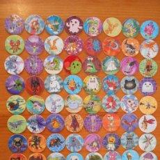 Juguetes antiguos y Juegos de colección: LOTE TAZOS DIGIMON - 72 TAZOS - SIN REPETIDOS - CAPS - MAGIC BOX INT - AÑO 2000 (W2). Lote 186119416