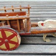 Juguetes antiguos y Juegos de colección: ANTIGUO Y RARO CABALLO CON CARRUAJE DE MADERA INDUSTRIAL CENTAURO R. SANCHO LOP. Lote 147693974