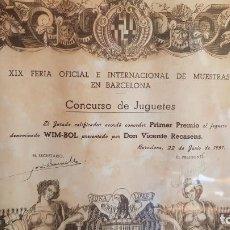 Juguetes antiguos y Juegos de colección: CONCURSO DE JUGUETES / PRIMER PREMIO / FERIA DE MUESTRAS DE BARCELONA 1951 / CURIOSO DIPLOMA.. Lote 149321394