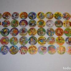 Juguetes antiguos y Juegos de colección: COLECCIÓN COMPLETA TAZOS PANRICO DONETTES PARODIAS DE PELÍCULAS TAZO MOVIES CAPS BARMAN FOREVER. Lote 150688730