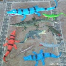 Juguetes antiguos y Juegos de colección: LOTE DE 9 ANIMALES COCODRILOS Y CAIMANES DE JUGUETE GOMA Y PVC. Lote 151547314