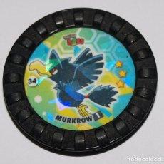 Juguetes antiguos y Juegos de colección: TAZO POKEMON ROKS 34 MURKROW 1. VER FOTOS Y DESCRIPCION. Lote 152796010