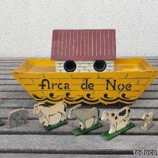 Juguetes antiguos y Juegos de colección: ANTIGUA Y RARA ARCA DE NOE DE MADERA DE ARRASTRE CON ANIMALES Y NOE. Lote 155525174