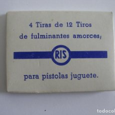 Juguetes antiguos y Juegos de colección: CUATRO TIRAS DE DOCE TIROS FULMINANTES AMORCES PARA PISTOLAS JUGUETE RIS AÑOS 70. Lote 167517660