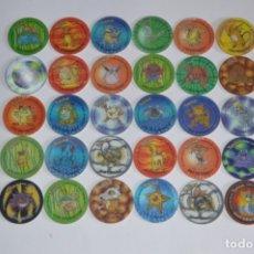 Juguetes antiguos y Juegos de colección: MATUTANO POKÉMON TAZO 2 HOLOGRÁFICOS COLECCIÓN COMPLETA TAZOS CAPS POGS 3D. Lote 170091194