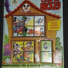 Juguetes antiguos y Juegos de colección: CASA DE MICKEY ROMPECABEZAS CON 18 ESCENAS DIFERENTES CUBOS DE PLÁSTICO WALT DISNEY CLUB MICKEY. Lote 176209762