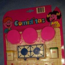 Juguetes antiguos y Juegos de colección: COMIDITAS- BLISTER CACHARRITOS DE GOMARSA. Lote 177753937