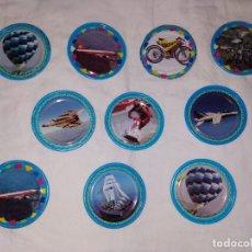 Juguetes antiguos y Juegos de colección: LOTE TAZOS METAL RAPPERS MAGIC BOX INT. - AVIONES, MOTOS, BARCOS. Lote 178314897