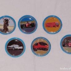 Juguetes antiguos y Juegos de colección: LOTE TAZOS METAL RAPPERS MAGIC BOX INT. - COCHES, MOTOS, CAMIONES.... Lote 178315031
