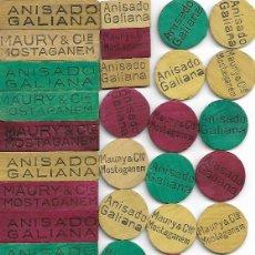 Juguetes antiguos y Juegos de colección: 42 FICHAS EN MADERA ANISADO GALIANA-MAURY & CIE MOSTAGANEM. Lote 183296775