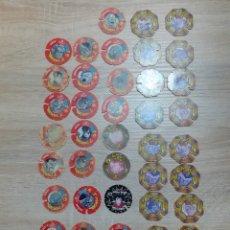 Juguetes antiguos y Juegos de colección: LOTE 43 TAZOS DRAGON BALL DE MATUTANO 1989 Y UN MEGATAZO. Lote 191898000