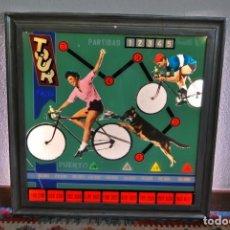Juguetes antiguos y Juegos de colección: CRISTAL DE PINBALL - TOUR - CICLISMO - CICLISTAS - PERRO - MARCO ACERO - FLIPPER - LÁMPARA - AÑOS 50. Lote 194232382