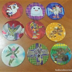 Juguetes antiguos y Juegos de colección: 9 TAZOS DIGIMON MAGIC BOX INT. TOEI. Lote 194239628