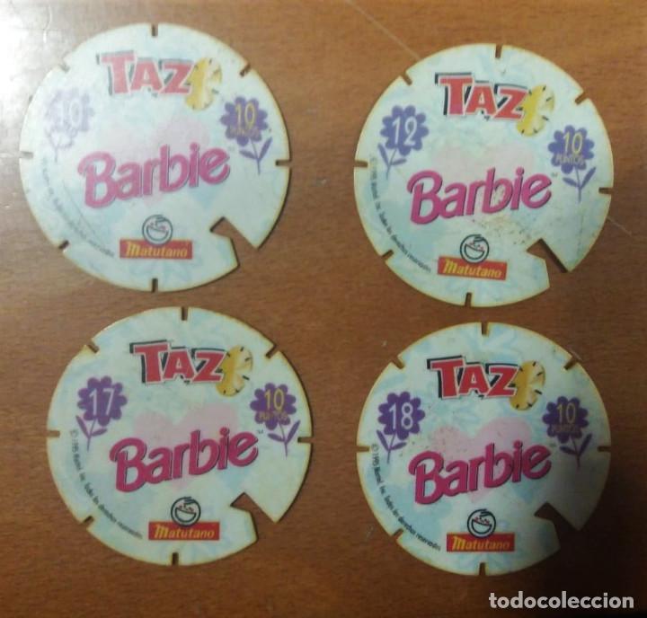 Juguetes antiguos y Juegos de colección: 4 Tazos Barbie nº 10 12 17 18 Matutano - Foto 2 - 194240680