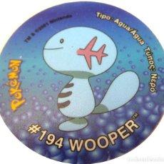 Juguetes antiguos y Juegos de colección: POKEMON GIGANTAZO #194 WOOPER -TASTY-MATUTANO- AÑO 2001./ DIÁMETRO: 50 MM.. Lote 198377967