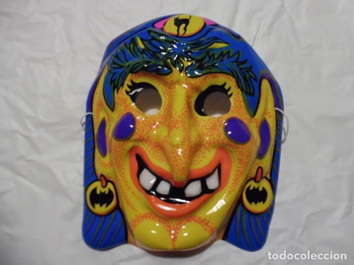 Careta plástico carnaval halloween monstruo terror años 70-80 bruja adivina segunda mano