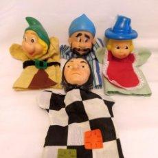 Juguetes antiguos y Juegos de colección: 4 MARIONETAS O TITERES DE MANO DE FAMOSA. Lote 235638645