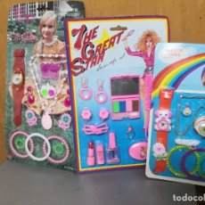 Jouets Anciens et Jeux de collection: 3 BLISTER CARTÓN PRETTY GIRL ACCESORIOS Y THE STAR GREAT JUGUETE HONG KONG. Lote 245910400
