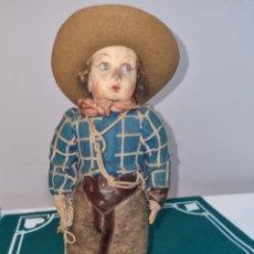 Giocattoli antichi e Giochi di collezione: MUÑECO VAQUERO ANTIGUO TRAPO Y CARTON PIEDRA. Lote 264732419