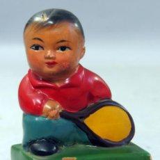Juguetes antiguos y Juegos de colección: SACAPUNTAS CHINO NIÑO TERRACOTA PINTADA AÑOS 60. Lote 271866748