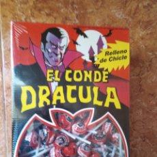 Juguetes antiguos y Juegos de colección: 200 LOLLIPOP EL CONDE DRACULA CEREZA RELLENO BUBBLE GUM CHUPA CHUPS BOX. Lote 294829138