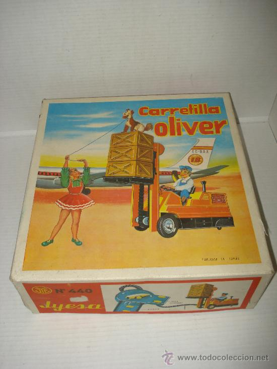 ANTIGUA CARRETILLA ELEVADORA DIRIGIDA POR CABLE OLIVER DE JYE JYESA . AÑO 1960S. (Juguetes - Marcas Clásicas - Jyesa)