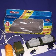 Juguetes antiguos Jyesa: CAMIÓN MILITAR TRANSPORTE TANQUES, MICROS,FAB.POR JYESA MADE IN SPAIN. Lote 147778870