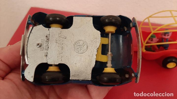 Juguetes antiguos Jyesa: RARO ANTIGUO COCHE JUGUETE WALT DISNEY MICKEY MOUSE Y REMOLQUE 3 CERDITOS LOBO FEROZ FIGURA GOMA PVC - Foto 7 - 216930600