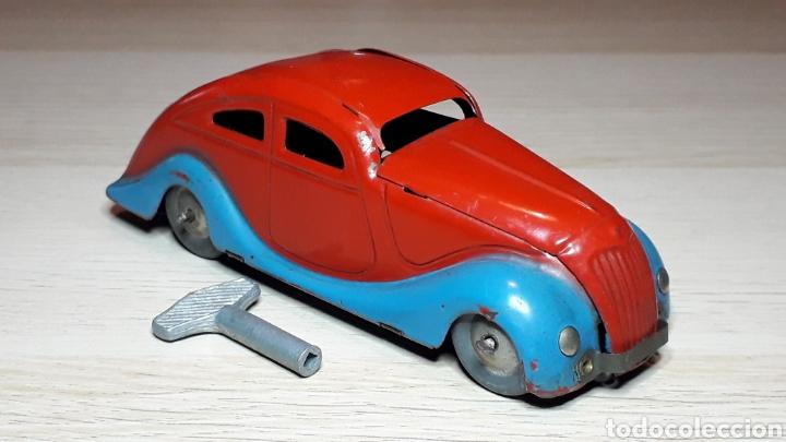 Juguetes antiguos Jyesa: Auto coche Lata 12,5 cms Mecanismo a cuerda Juguetes JYE Jyesa Ibi Alicante España. Original años 40 - Foto 2 - 222720725