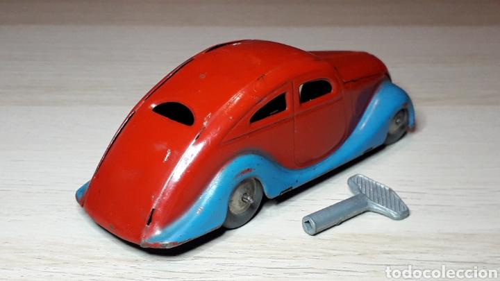 Juguetes antiguos Jyesa: Auto coche Lata 12,5 cms Mecanismo a cuerda Juguetes JYE Jyesa Ibi Alicante España. Original años 40 - Foto 3 - 222720725