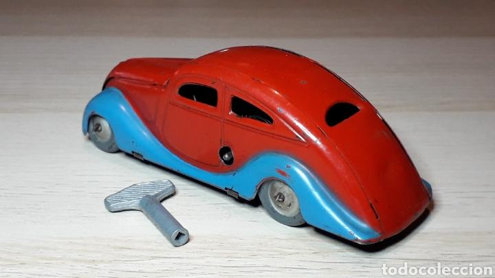 Juguetes antiguos Jyesa: Auto coche Lata 12,5 cms Mecanismo a cuerda Juguetes JYE Jyesa Ibi Alicante España. Original años 40 - Foto 4 - 222720725
