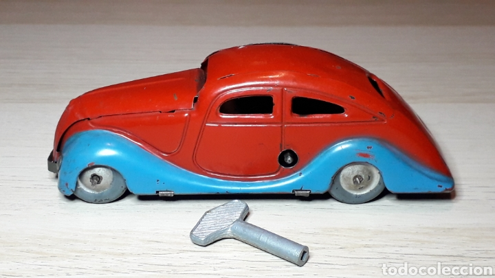 Juguetes antiguos Jyesa: Auto coche Lata 12,5 cms Mecanismo a cuerda Juguetes JYE Jyesa Ibi Alicante España. Original años 40 - Foto 5 - 222720725
