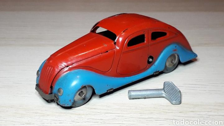 Juguetes antiguos Jyesa: Auto coche Lata 12,5 cms Mecanismo a cuerda Juguetes JYE Jyesa Ibi Alicante España. Original años 40 - Foto 6 - 222720725